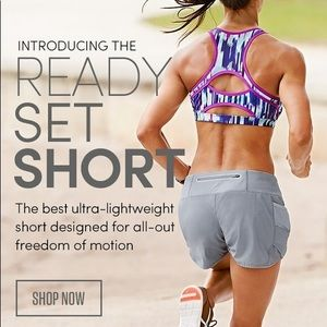 Athleta Ready Set Go Shorts Neon Orange